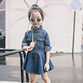 3-9T 2017 Girl Denim Dress Children Fashion Spring Autumn Jeans Dresses Kids Long Sleeve Cool Plated Dress Vestidoes