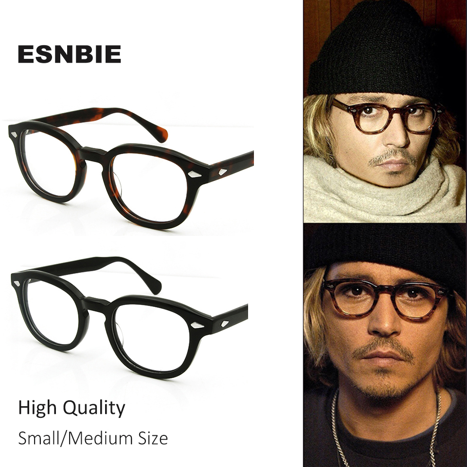 ESNBIE High Quality Acetate Johnny Depp Style Glasses Män Retro Vintage Prescription Glasses Kvinnor Optisk Spektakel Frame Round