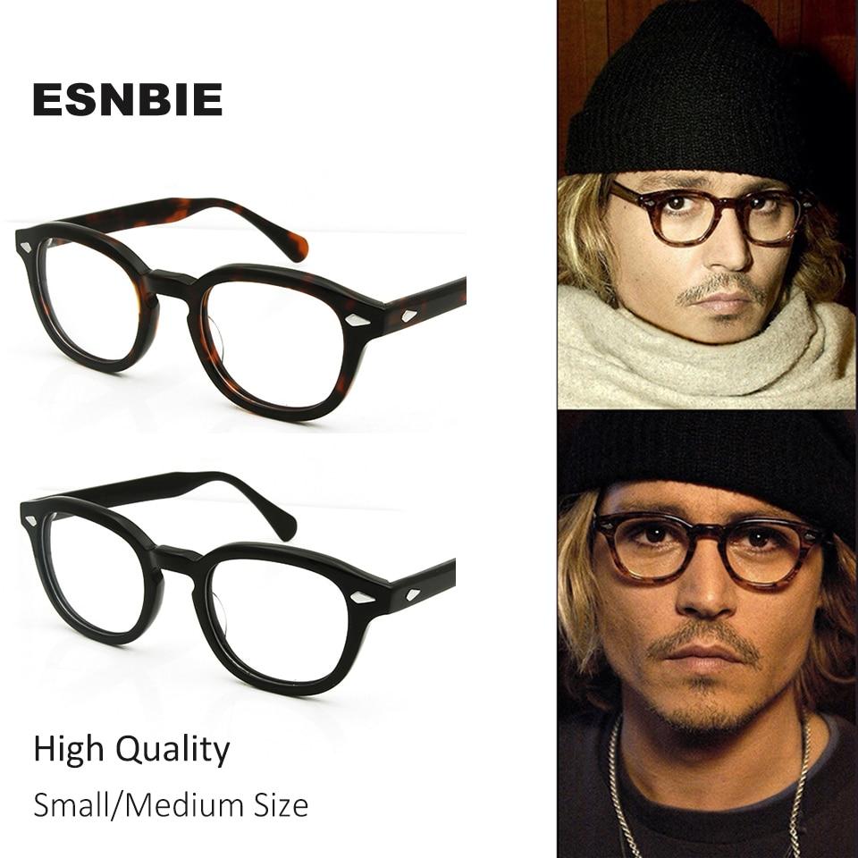 d2669cfd65ee3 ESNBIE Johnny Depp Estilo de Acetato de Alta Qualidade Óculos Homens  Mulheres Óculos de Prescrição Espetáculo Óptico Quadro Redondo Retro Do  Vintage em ...