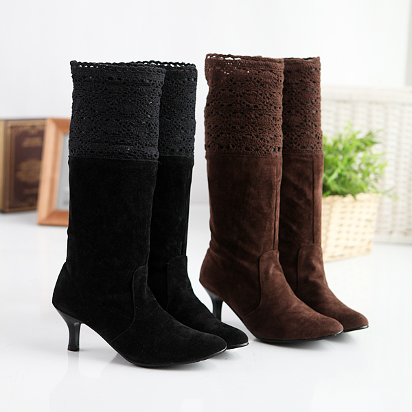 c1f090951ec9 Women s Fashion Faux Suede Mid Heel Calf Long Slouch Boots Ladies  Shoes  Black Brown Size US 4-10.5 EU 34-43 b159