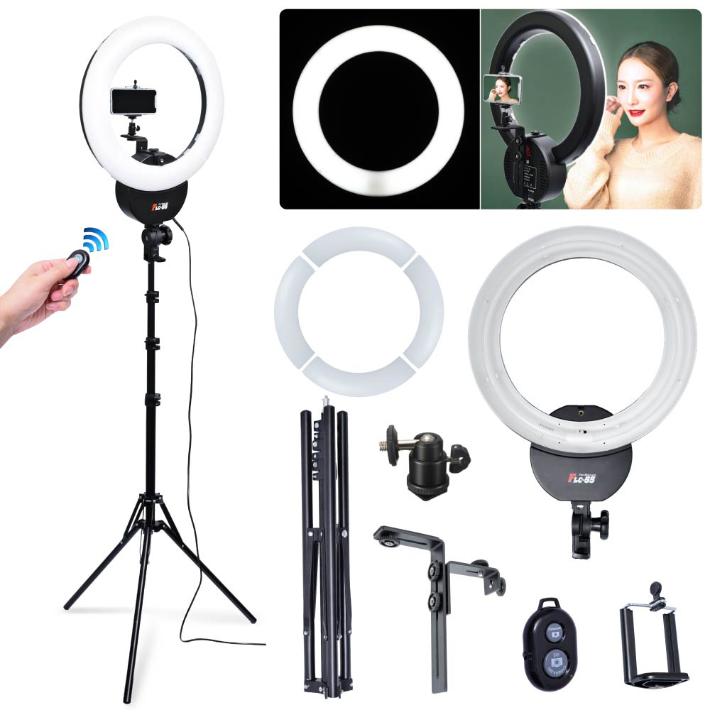 Falconeyes FLC-55 55W 1642cm 5600K Ring Light w/ Stand Camera Phone Clamp & Remote Kit for Portrait Make Up Video Photo Selfie