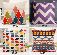 Kinds Retro Pillow Cover Composite Linen Cushion Case Colorful Geometry 42x42cm Decorative Sofa Car Seat Throw Pillow Cover