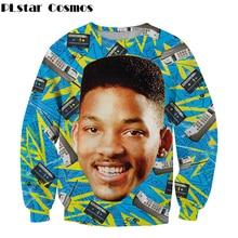 цены на Harajuku style Sweatshirt Hot star Will Smith 3d print Crewneck Sweatshirt hip hop men/women tracksuit Pullovers Free shipping  в интернет-магазинах