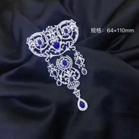 Victoria palace 925 sterling silver with cubic zircon brooch pins luxury jewelry fashion women jewelry white with blue color