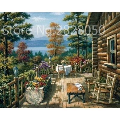 A Balcony With A Chalet Pictures Painting By Numbers DIY Canvas Oil ...