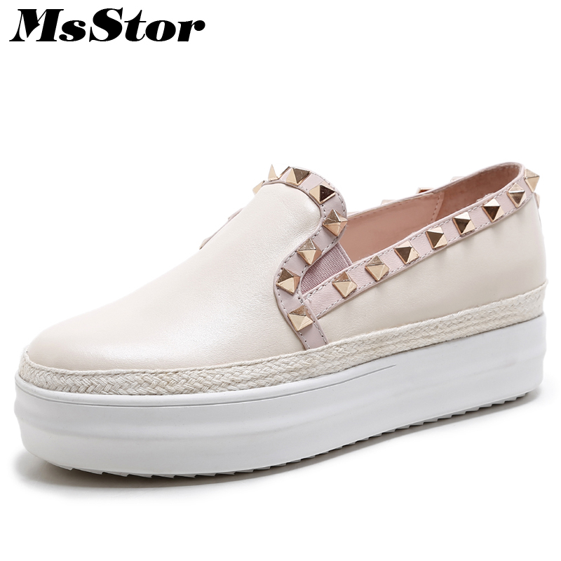 MsStor Round Toe Mixed Colors Women Flats Casual Fashion Ladies Flat Platform Shoes 2018 Spring Rivet Girl Women's Flat Shoes eiswelt shoes spring summer fashion rivet flats party pointed flock women shoes wedding shoes glitter flat ladies shoes zjf84