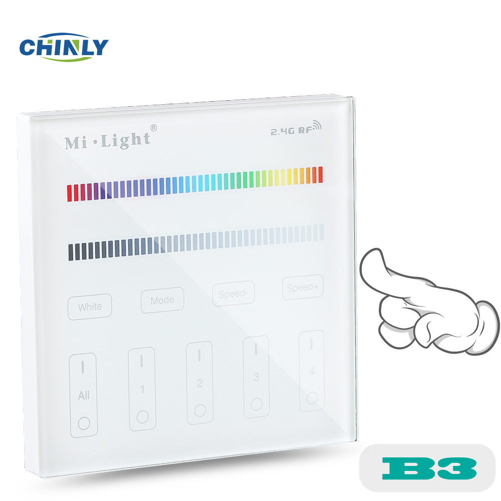 Mi light B3 Battery model 4-Zone RGB RGBW Wall Hanging LED Touch Switch Panel Remote Controller for MI LIGHT RGBW RGB Controller laideyi rgb controllers light bar bluetooth led controller lights string music controller lighting controller 4 way 5 pin rgbw