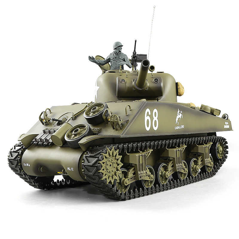 US Main Mattle Tank Model Toy 1:16 2 4G Simulation Sound Turret Rotation  Smoke Launch Bullet M4A3 Kids Remote Control RC Tank