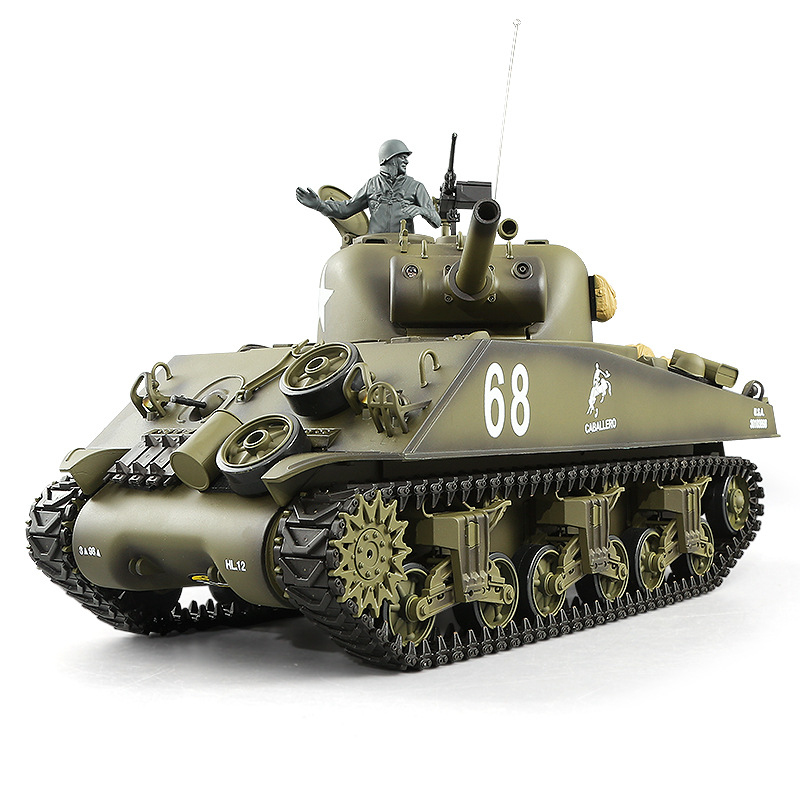 US Main Mattle Tank Model Toy 1:16 2.4G Simulation Sound Turret Rotation Smoke Launch Bullet M4A3 Kids Remote Control RC Tank