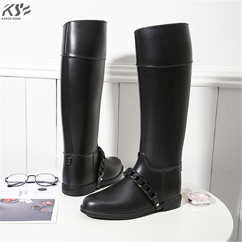 women rain boots waterproof tall lady rainboot luxury designers rubber chain shoes women rainwear comfortable boots  female
