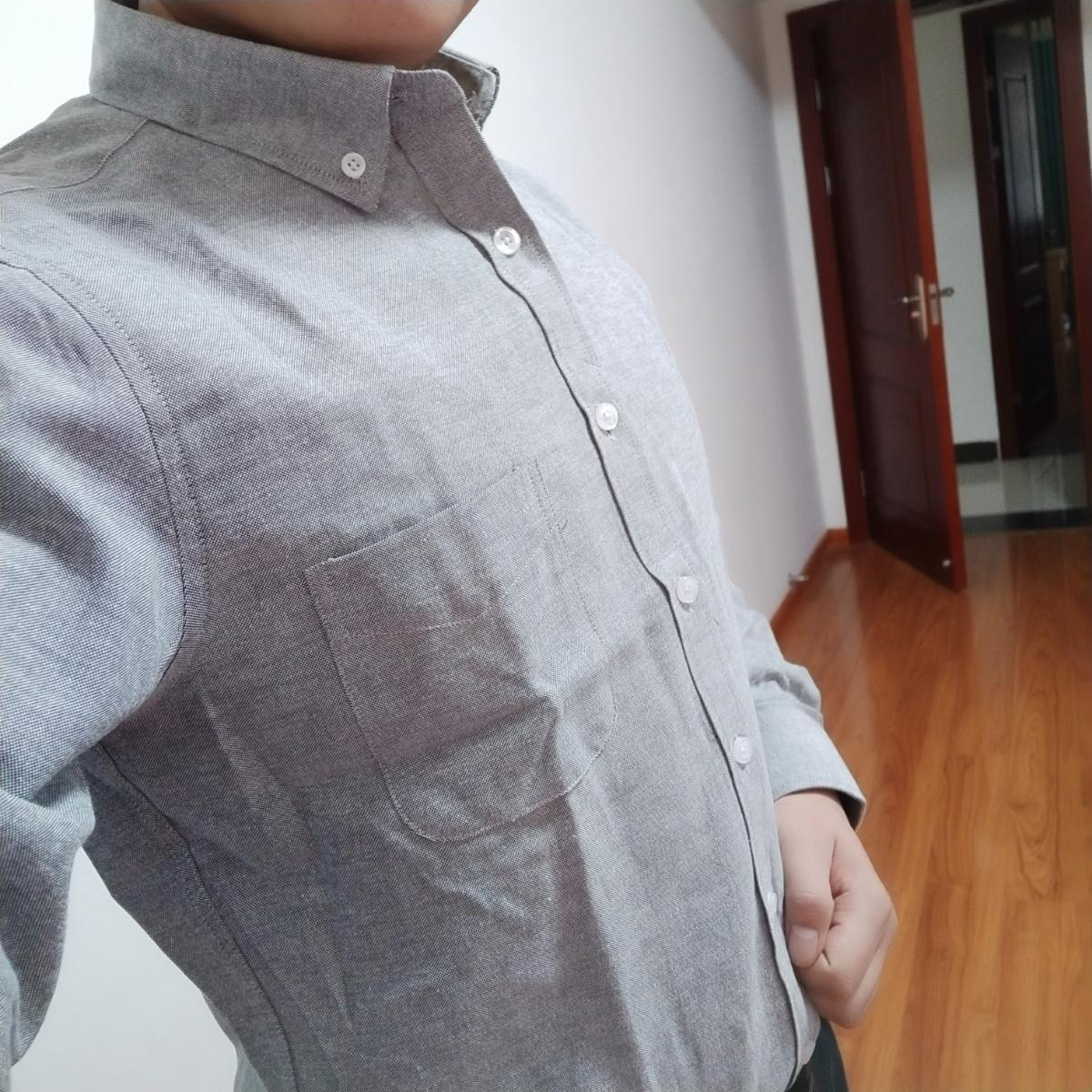 High-quality long-sleeved shirts for men's leisure Korean version of young and middle-aged Oxford white shirts in spring 7