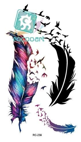 Hot Body Art Water Transfer Flash Fake Tattoo Sticker Temporary Tattoo Sticker Blue Black Wind Blown Feathers Taty Tatoo