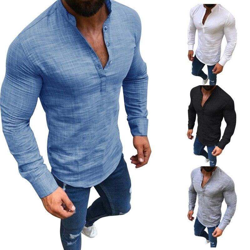 HTB152p7XynrK1RjSsziq6xptpXan - LASPERAL Men Plus Size Linen T-Shirts Fashion Long Sleeve Tee Top Male Streetwear Stand Collar Button Tee Shirts Plus Size 3XL