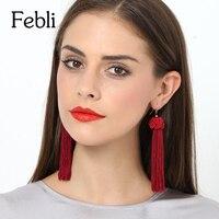 5 pair Random style New Braided Tassel Earrings Fashion Brand Yellow Black Red White Dark Green Fringes Drop Earrings