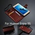 Para huawei gr3 cubierta del tirón de 5.0 pulgadas monedero con soporte titular de la tarjeta caso de la cubierta funda de piel para huawei enjoy 5s accesorios