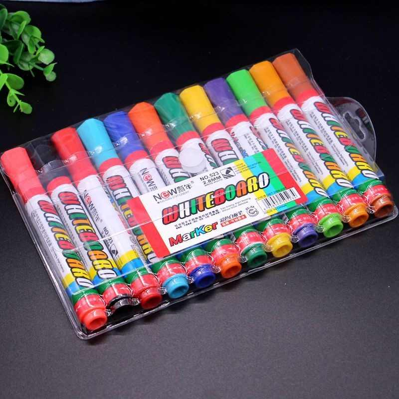 Free shipping 12 Colors/pack Refillable Whiteboard marker Dry and Wet erasable marker pen set