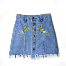 Denim Skirts Womens 2017 Summer Flower Embroidered Short Jeans Skirt Hot Female Cotton Mini Skirt Vintage A-Line