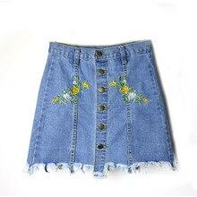 Denim Skirts Womens 2017 Summer Flower Embroidered Short Jeans Skirt Hot Female Cotton Mini Skirt Vintage A-Line