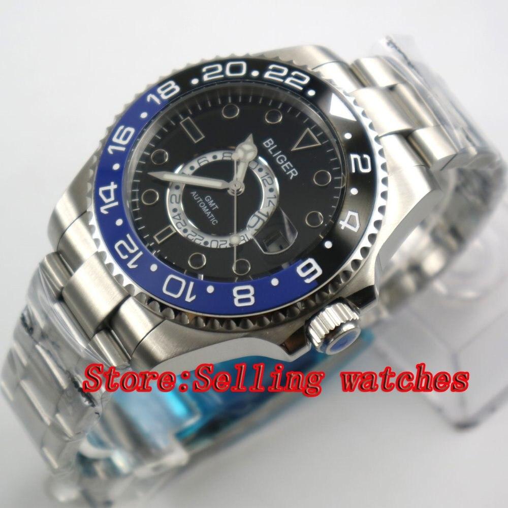 43mm Bliger Stainless Steel Case Black Dial Blue & black Ceramic Bezel Luminous Mechanical Mens Wristwatch