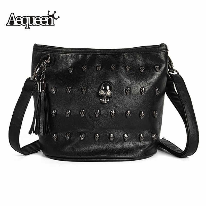 AEQUEEN Punk Skull Rivet Bags Women Messenger Bag Europe Shouder Bag Lady  Purses Briefcase Leather Handbags 1005a8337c95