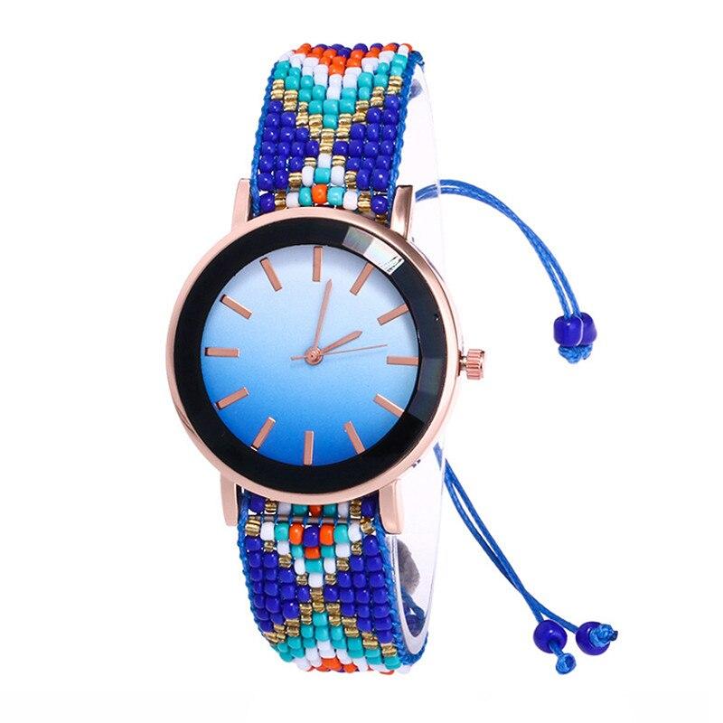 Ladies watch Ethnic Retro hand-woven wrist watch Fashion Gradient watch Bead str