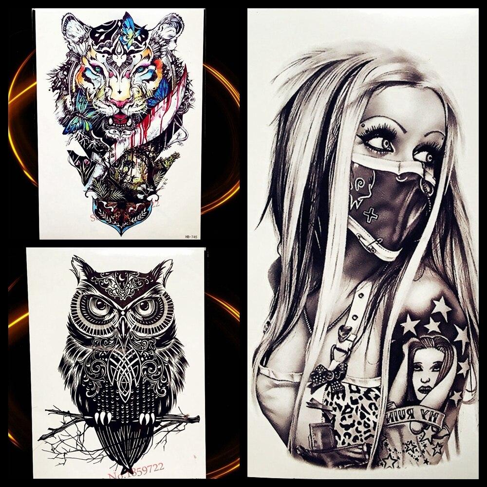 Пикантные панк в масках Для женщин леди Временные татуировки Стикеры 21*15 см Водонепроницаемый поддельные татуировки для Для мужчин Для женщин Средства ухода за кожей Книги по искусству татуировки руки ноги наклейки