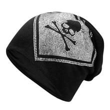 цена на Winter Warm Knitted Skullies Cap For Women Men Unisex Rhinestone Skull Head Butterfly Beanies Hat