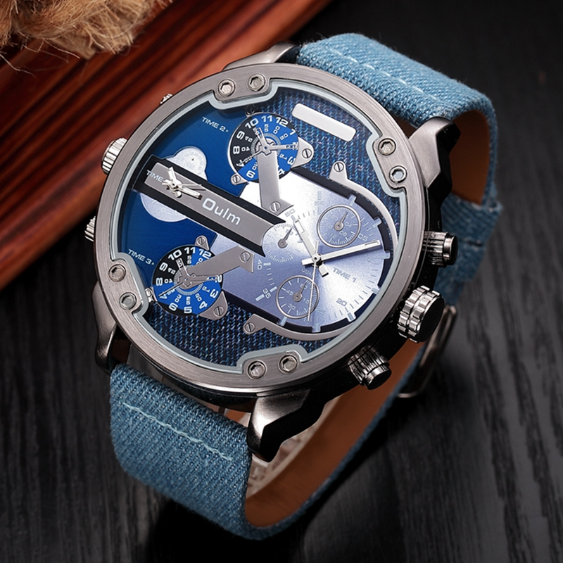 Oulm Oversized Big Men Quartz Watch Double Time Zone Casual Fabric Watches Luxury Men's Military Wristwatch relogio masculino top brand luxury oulm 2 time zone men watches military sports quartz watch 2017 men rose golden case relogio masculino box