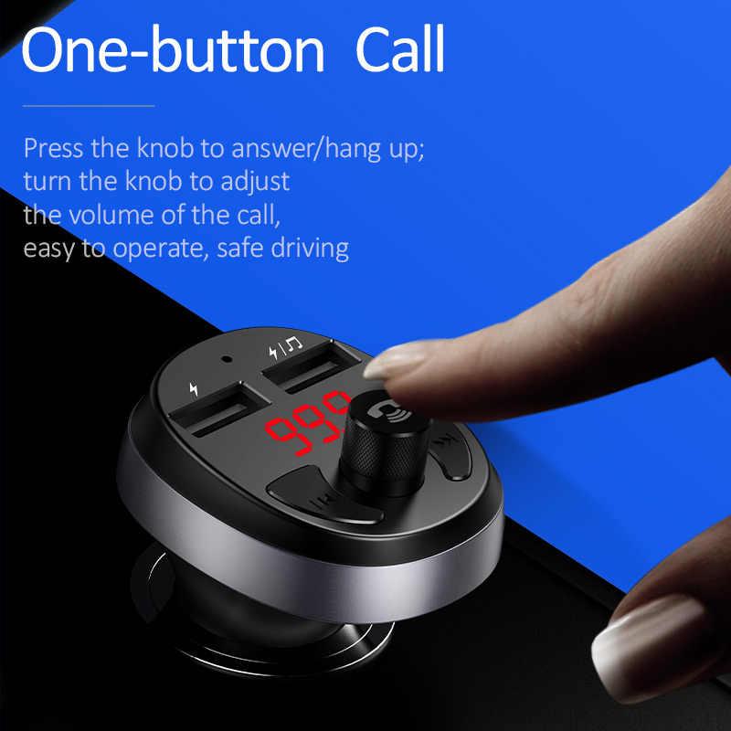 Cargador de coche USAMS para iPhone teléfono móvil transmisor FM sin manos Bluetooth Kit de coche LCD MP3 reproductor Dual USB para coche cargador