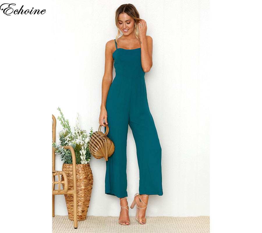 Echoine 2018 Fashion Rompers Women Blue Spring Summer Elegant Jumpsuit Rompers Womens Jumpsuits Sexy Sling Backless Bodysuit
