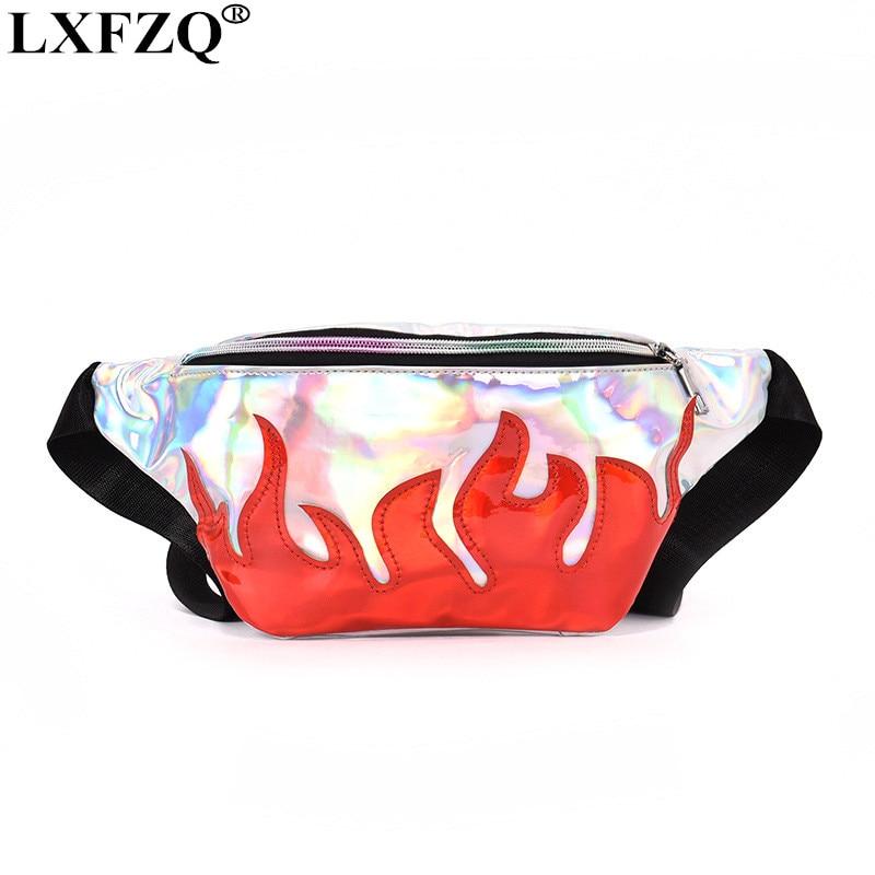LXFZQ NEW fanny pack sac banane PU waist bag laser purse heuptas leg bag Reflective fanny pack for women holographic bum bag цена