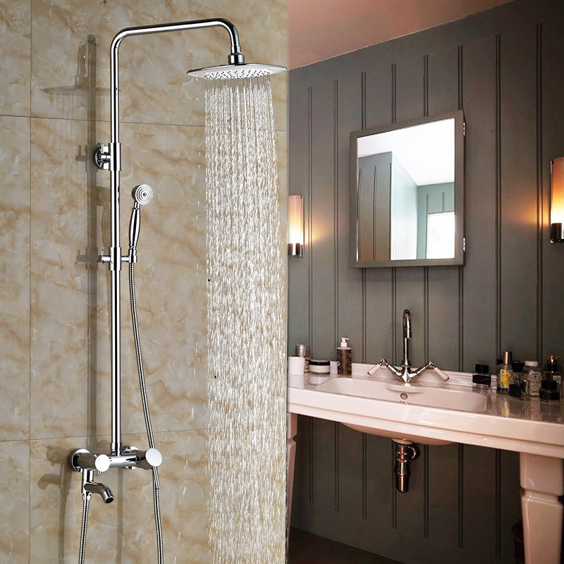 Wall Mount Single Handle Bathtub Shower Mixer Taps 8 Rainfall Shower Faucet with Swivel Tub Spout