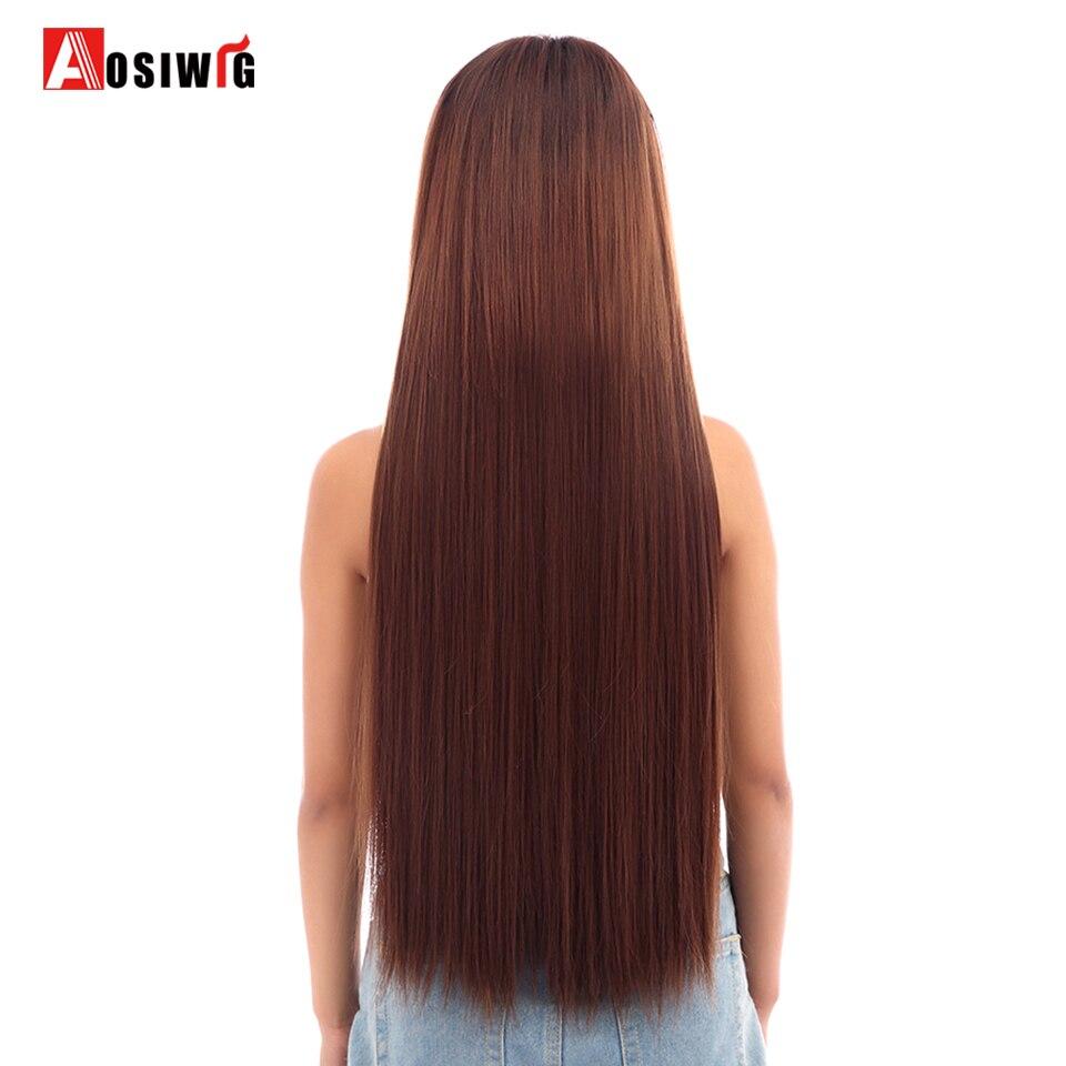 AOSIWIG Long Straight Hair Extensions 5 κλιπ σε ψεύτικο - Συνθετικά μαλλιά - Φωτογραφία 2