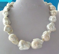 DYY 915 +++Large White Unusual Baroque Pearl Necklace disc Clasp 18