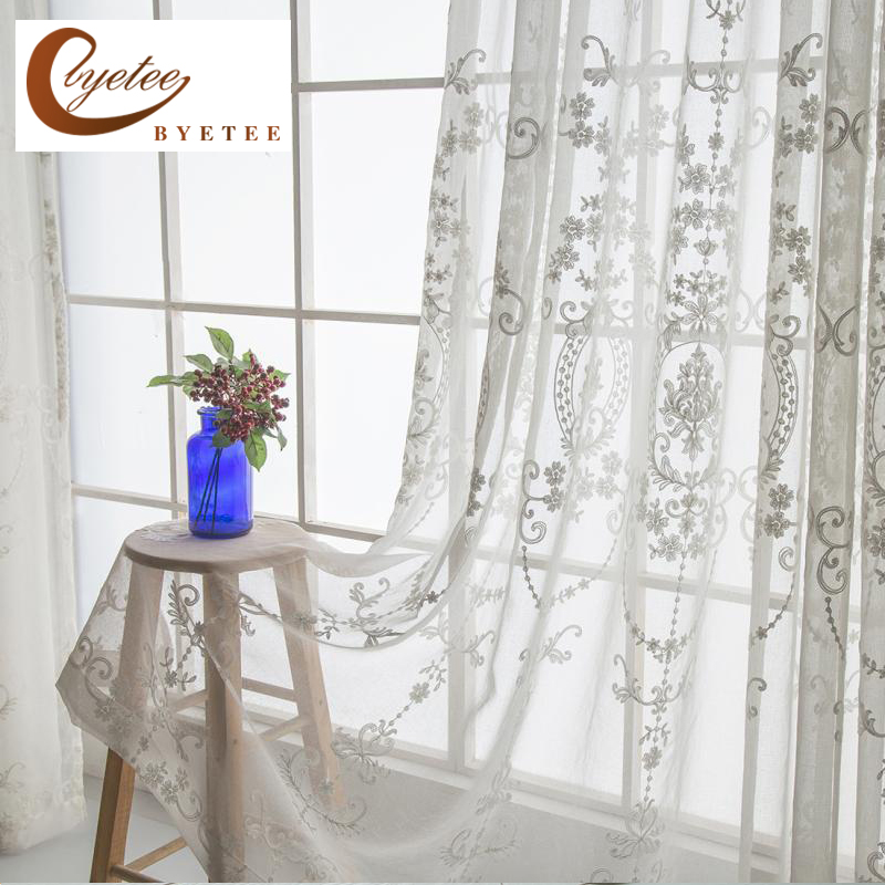 Kitchen Entrance Curtain: {byetee} Modern Embroidered Sheer Curtain For Living Room