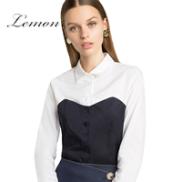 Lemon Fashion Women Black And White Shirt Brief Color Block Contrast Regular Cotton Summer Single Buttons