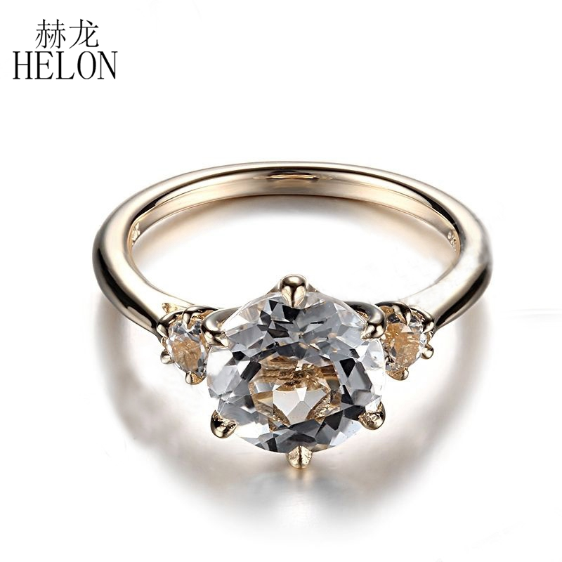 HELON Hot Round Solid 10K Yellow Gold Prong Setting 8mm & 3mm Flawless White Topaz Ring Wedding Anniversary Fine Jewelry Ring