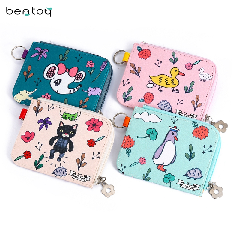 Cute Mini Women's Wallets Leather Cats Animal Pattern Purse Key Ring Coin Purse Handbags Gortmonee Girls Gift Bag Card Case pacgoth japanese and korean style pu leather coin purse casual animal prints cute cats hot lip pattern zipper cash pouch 1 piece