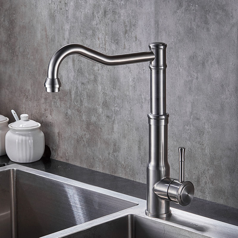 Sus304 Stainless Steel Kitchen Faucets Brushed Mixer Water: Adjustable Height Stainless Steel Kitchen Faucet Basin