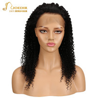 Joedir 360 Кружева Фронтальная натуральные волосы парики для черный Для женщин Бразильский афро кудрявый вьющиеся Волосы remy парик с ребенком во