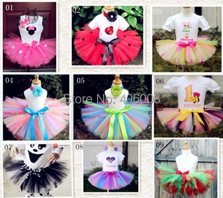 Free shipping retail girls fashion skirt 2014 new handmade skirt  hairband girls fluffy chiffon rainbow tutu skrits baby