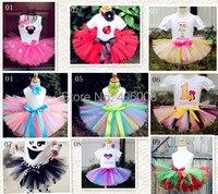 Free Shipping Retail Girls Fashion Skirt 2014 New Handmade Skirt Hairband Girls Fluffy Chiffon Rainbow Tutu