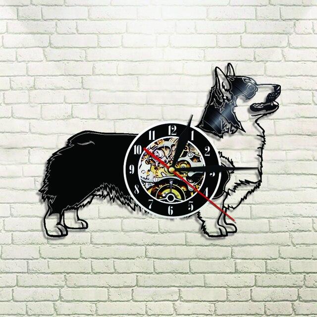 1Piece Cardigan Welsh Corgi Dog Vinyl Clock Funny Pet Puppy Wall Clock Dog  Lover Gift Animals