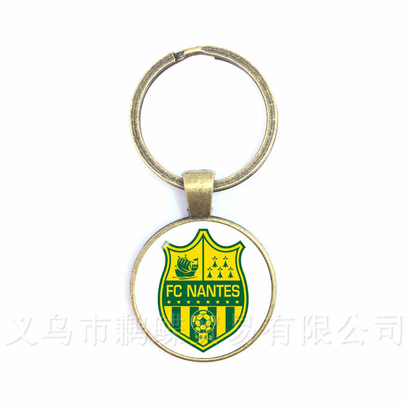 FC Nantes PSG Football Professionne Football Team Logo 25mm Glass Dome  Key Chain For Football Fans' Commemorative Gift