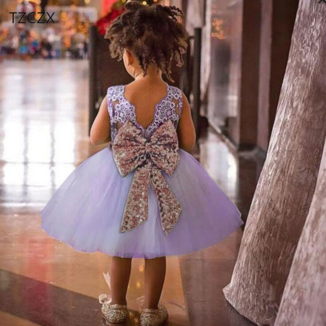 TZCZX-3525 New Summer Children Baby Boys Girls Dress Fashion Cute Bow Ball Gown For 9 Month to 4 Years Old Kids Wear Clothes