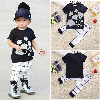 Cool Baby Boy Casual Short Sleeve Clouds T Shirt Plaid Pants 2pcs