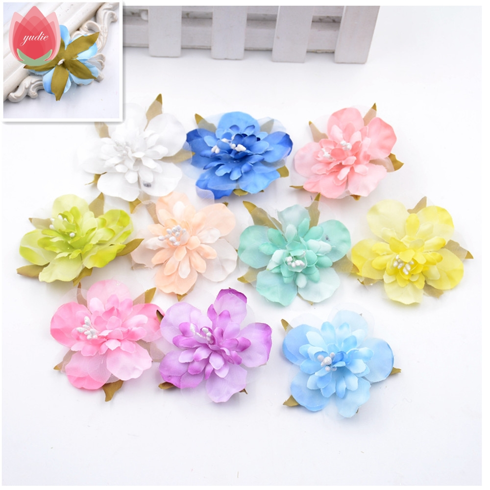 10pcs Silk Handmade Artificial Cherry Flowers For Wedding Party Decoration Flores Clothing Shoes Hats Accessories Craft Flowers