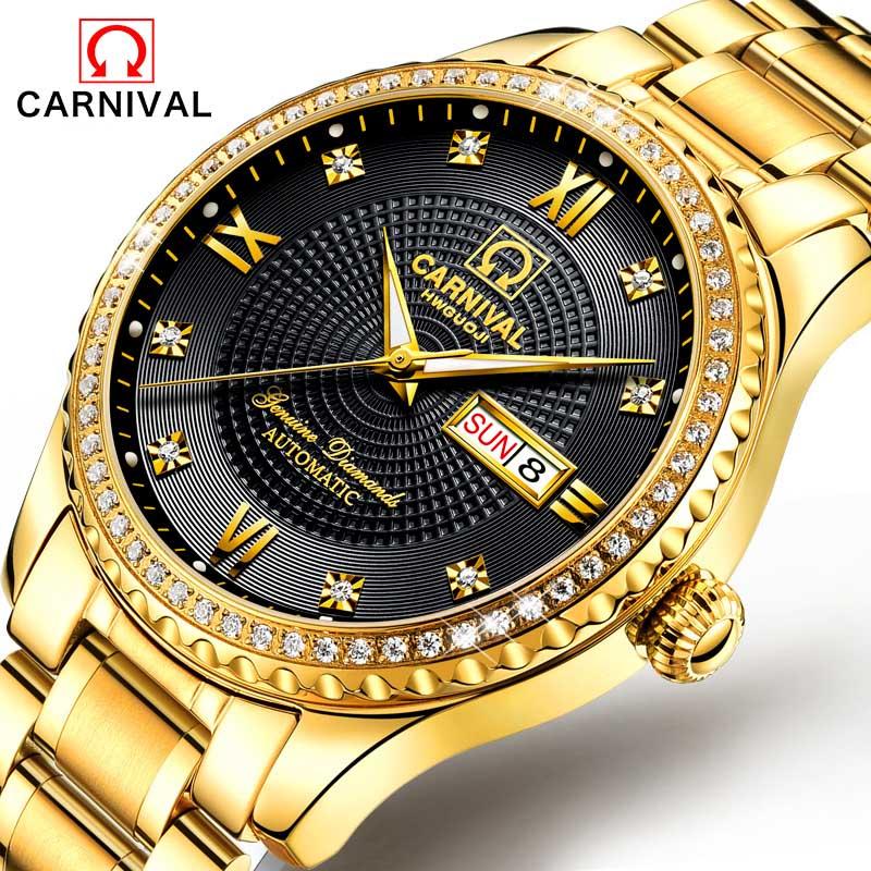 Carnaval Hot Automatische Mechanische Merk mannen Horloges Mode Leger Sport Waterdichte Lichtgevende Horloge Luxe Full Steel Horloge-in Mechanische Horloges van Horloges op  Groep 1