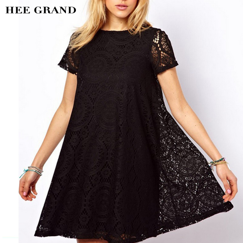 HEE GRAND Style D'été Femmes Robe 2018 Western Style Dentelle Manches courtes O-cou Solide Robes Plus grande Taille 4XL Gros WQS062