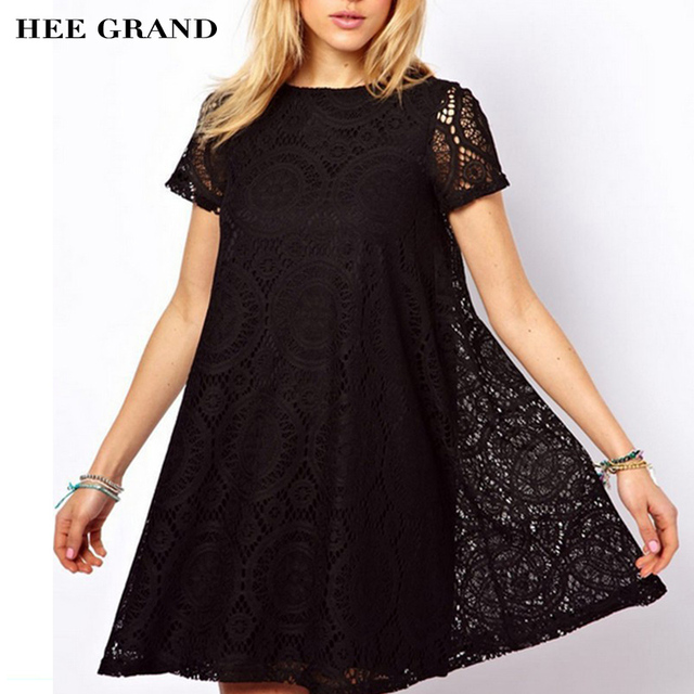 HEE GRAND Summer Style Women Dress 2018 Western Style Lace Short Sleeves  O-neck Solid Dresses Plus big Size 4XL Wholesale WQS062 31eee433d381